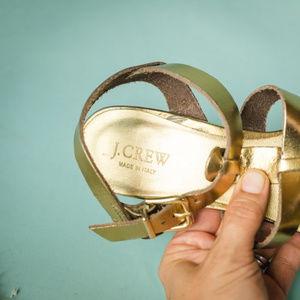 J. Crew Shoes - J Crew 7 Gold Leather Metallic Slingback Sandals
